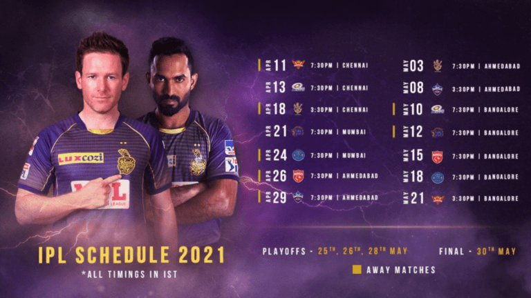 Kolkata Knight Riders (KKR) IPL 2021 full schedule Update, squad, match timings, venues, and more